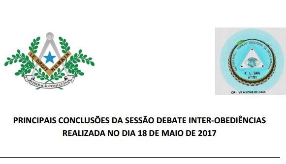Principais conclusões da Sessão Debate Inter-Obediências – R.'.L.'. Gaia